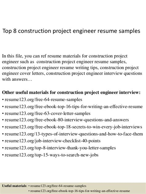 resume format for project engineer top 8 construction project engineer resume sles