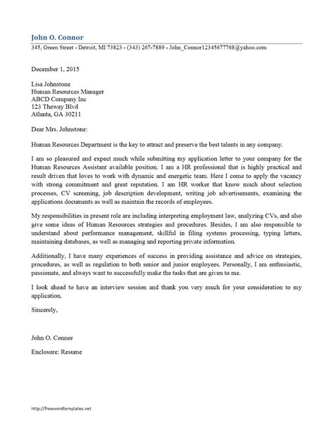 cover letter addressed to human resources human resources staff cover letter