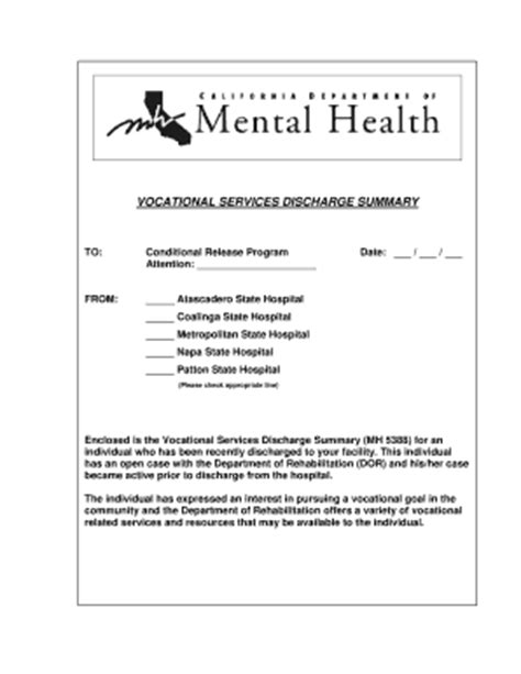 discharge summary template mental health 19 printable discharge summary forms and templates