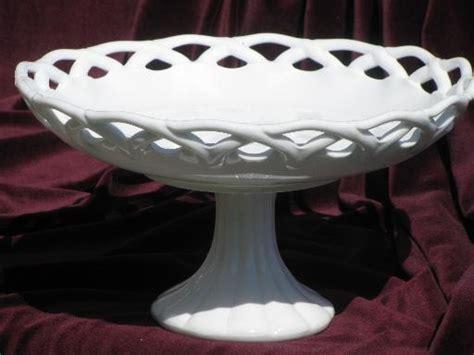Large Home Decor Large Milk Glass Compote Pedestal Fruit Bowl Vintage Lace