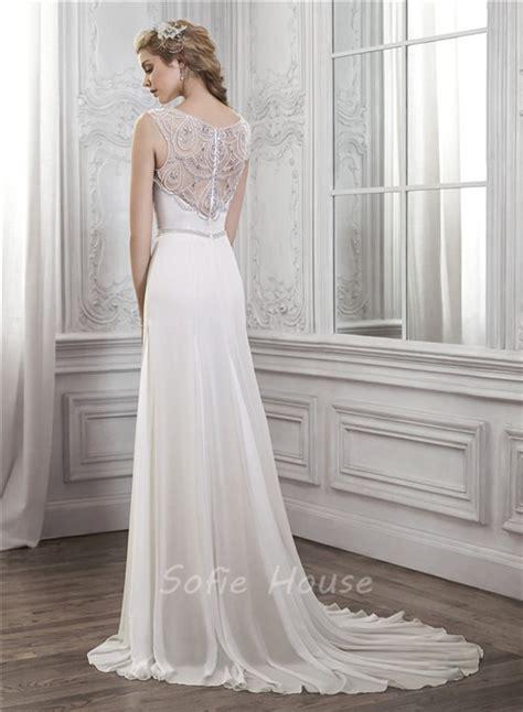 beaded back wedding dress sheath bateau neck sheer back chiffon tulle pearl beaded