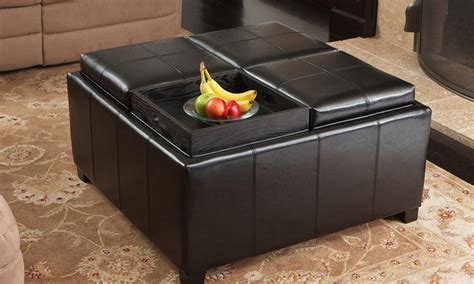 ottoman with 4 tray tops storage ottoman with tray tops groupon goods
