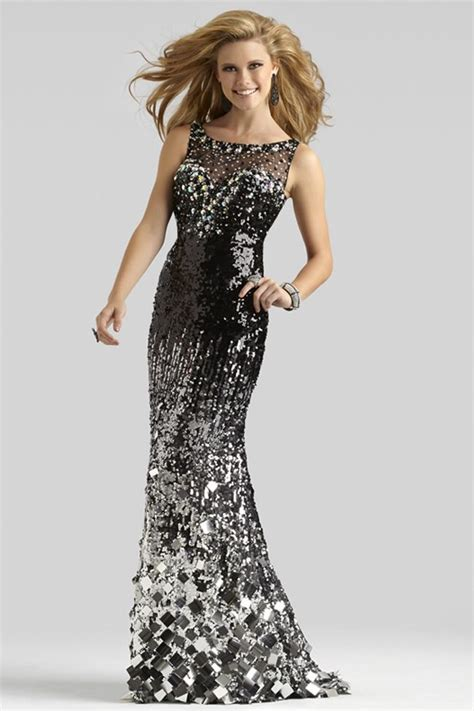 boat neck sequin dress black and silver couture formal gown 4305 boat neck