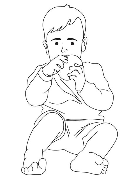 free boy eating coloring pages