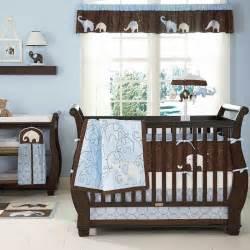 Baby Boy Crib Bedding Sets Cheap Blue And Brown Elephant Baby Boy 4pc Cheap Nursery