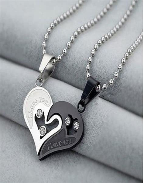 i like how they paired the pendants with a different but 1 pair personalized broken heart pendant necklace custom