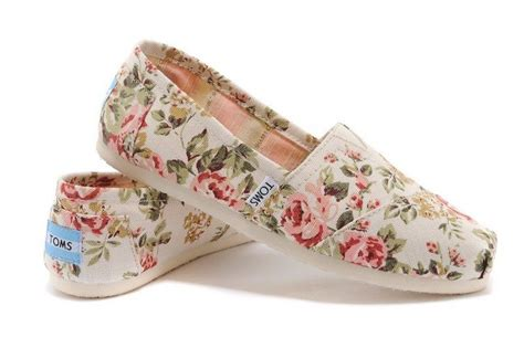 authentic toms shabby chic grey pink floral faded tropical