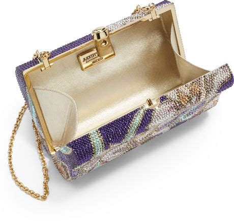 Judith Leibers Wavy Curve Clutch by Judith Leiber New Wavy Curve Floral Mosaic Clutch