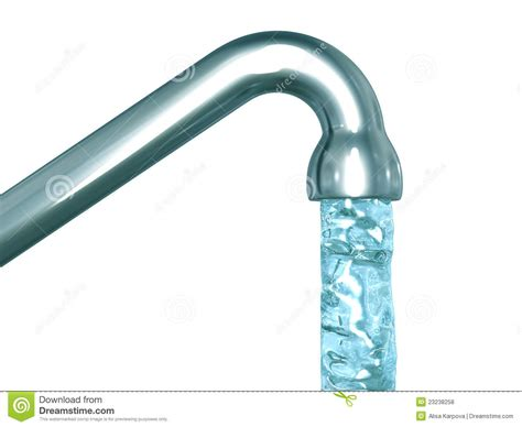 Modern Kitchen Designers blue crystal water flow out of a tap royalty free stock