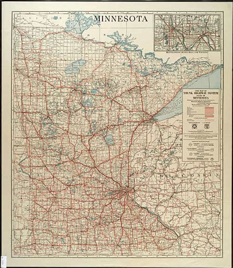 Route Drawer Map by 1928 Map Of Trunk Highway System State Of Minnesota