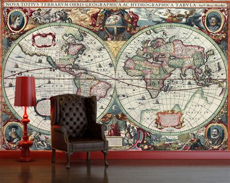 retro wall murals vintage world map globe atlas antique wallpaper wall mural decor feature photo wallpaper 5