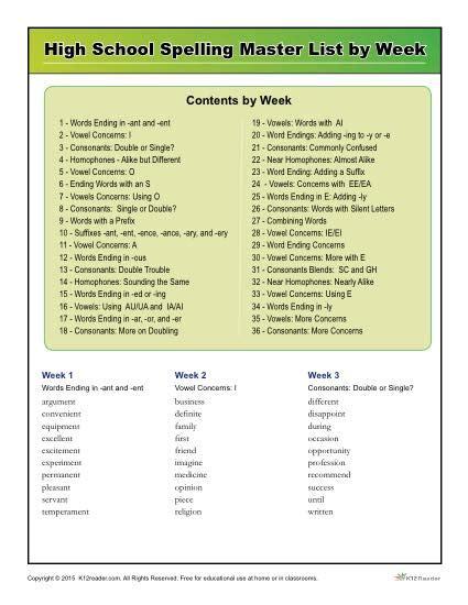 k12reader high spelling words master list by week