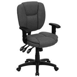 Ergonomic Desk Chair With Adjustable Arms Mid Back Gray Multi Functional Ergonomic Office Chair