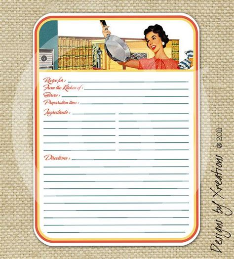 Electronic Recipe Card Template by Retro Blank Recipe Card Digital Template 5x7 Inches