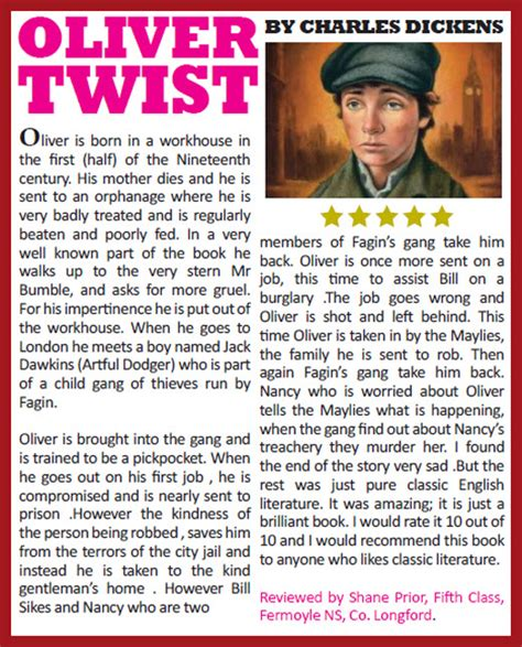 book report oliver twist home the primary planet ireland s children s