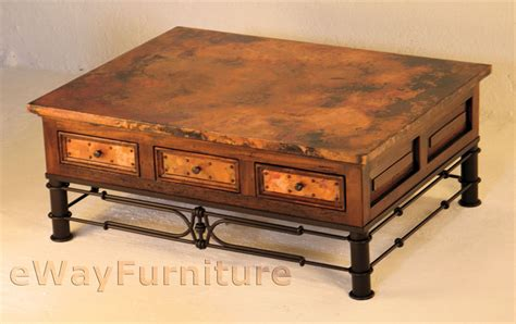 Hammered Copper Coffee Table Six Drawer Hammered Copper And Wood Coffee Table With Iron Pablo Base