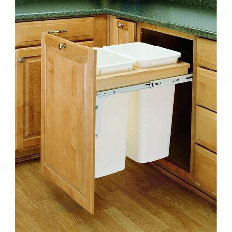 pull out trash garbage can waste container kitchen cabinet double top mounting pull out waste container richelieu