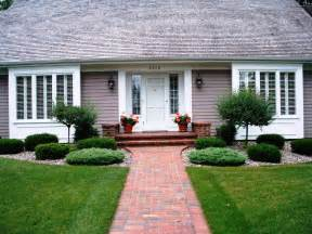 ideas landscaping ideas for front of house with walkway pavers and green grass plus outdoor