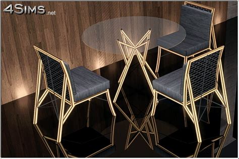 wire dining room glass table  chair  sims  sims