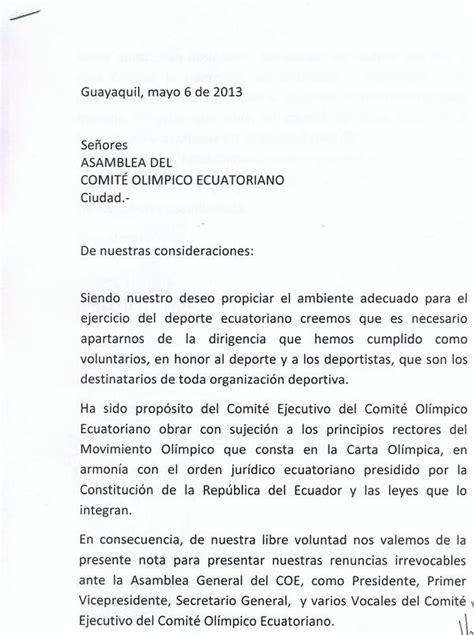 Carta De Renuncia Ejemplo Ecuador comite olimpico ecu on quot carta de renuncia de econ danilo drouet parte 1 http