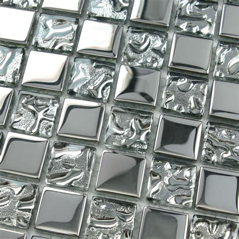 silver glass tile backsplash ideas bathroom mosaic tiles