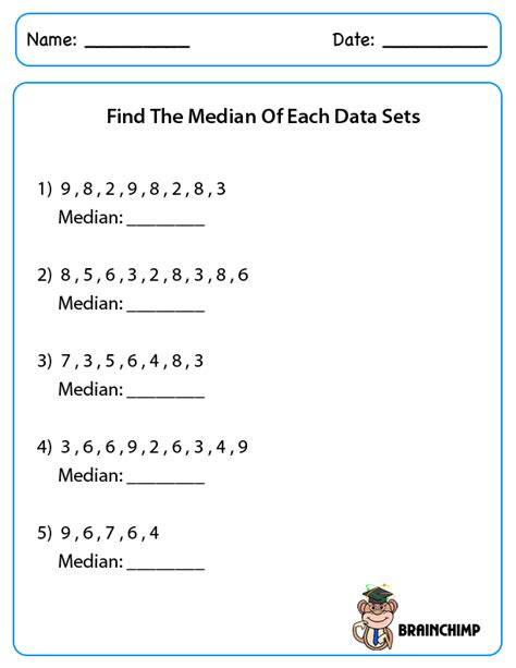 Median Mode Range Worksheets Pdf by Median Mode Brainchimp