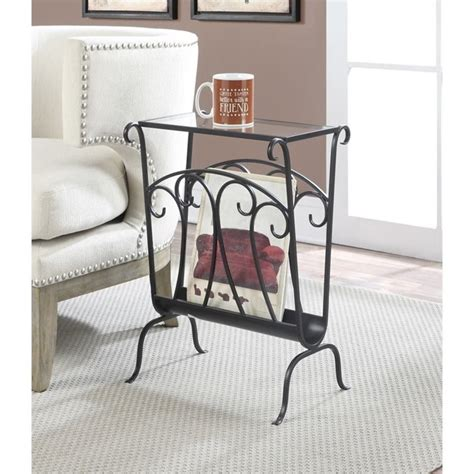 wrought iron end tables living room wrought iron glass end table in black 227245