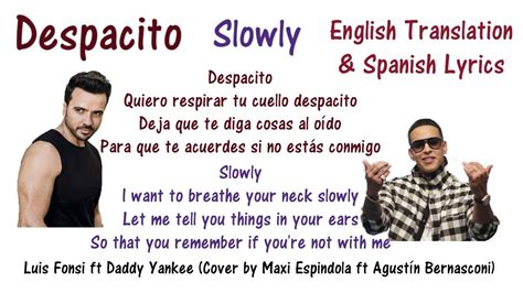 despacito with english lyrics despacito lyrics in english and spanish luis fonsi ft