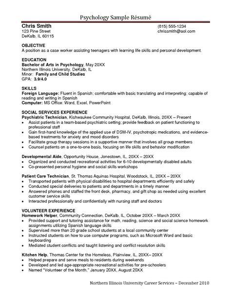 Psychologist Resume by Psychology Cv Exle Resume Cover Letter