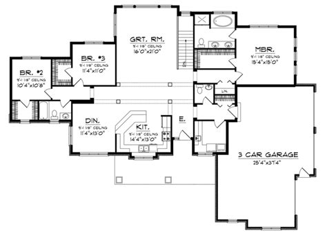 open space house plans home plans homepw76535 2 080 square feet 3 bedroom 2