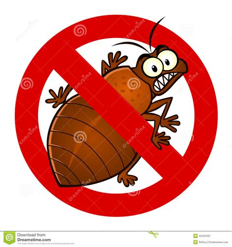bed bug cartoon anti bedbug sign stock vector image 42431037