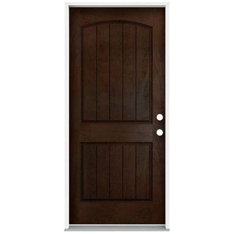 36 X 78 Exterior Door Jeld Wen 36 In X 80 In Architectural 2 Panel Arch Top Plank Stained Mahogany Fiberglass Front