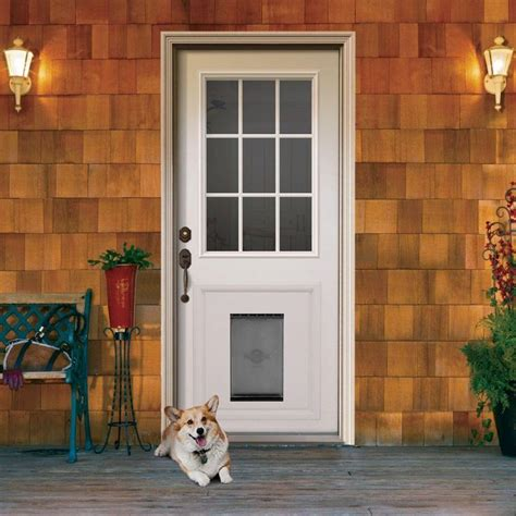 Exterior Pet Doors Jeld Wen 9 Lite Primed White Steel Prehung Front Door With Medium Pet Door And Brickmold