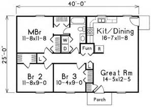 1000 Sq Ft Open Floor Plans Ranch Style House Plan 3 Beds 1 Baths 1000 Sq Ft Plan