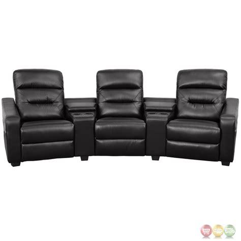 futura series 3 seat reclining black leather theater