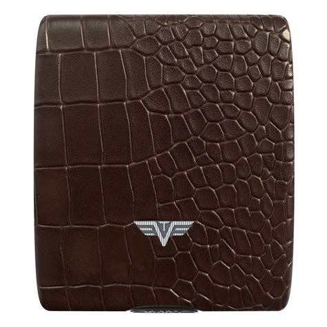 Dompet Tru Virtu Brown Croco Leather Line tru virtu aluminum wallet beluga money cards leather line corco brown wallets brands
