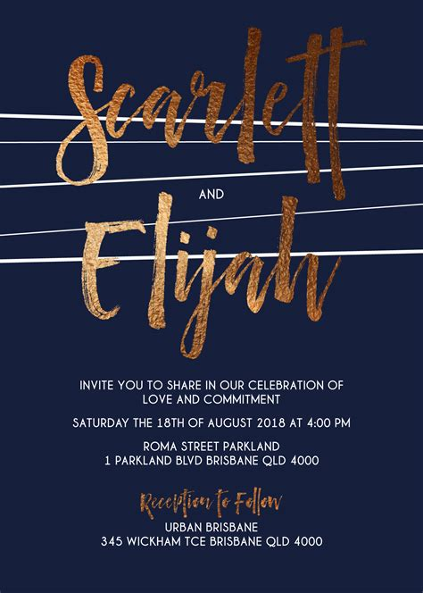 Wedding Invitation Lines by Lines Real Foil Wedding Invitations