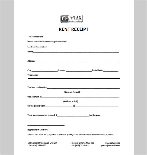 landlord receipt template receipt template for landlord exle of landlord receipt