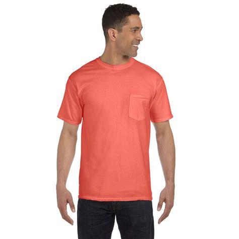 comfort colors salmon comfort colors men s bright salmon 6 1 oz pocket t shirt