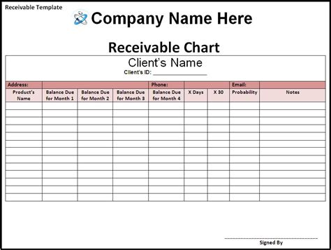 accounts receivable template business templates free printable sle ms word