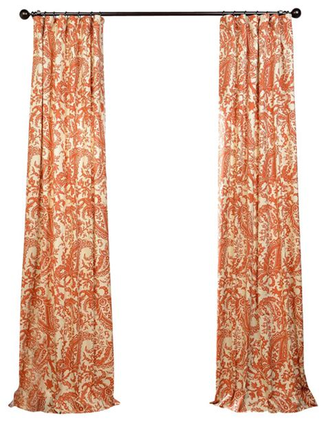 rust drapes edina rust printed cotton curtain single panel