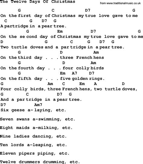days are chords search results for twelvedaysofchristmaslyrics