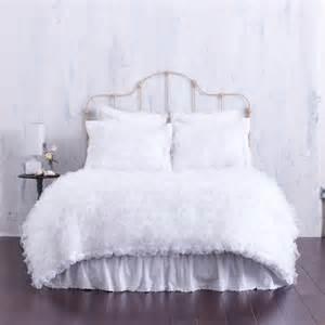 White chiffon bedding ruffles duvet cover designer bed linens