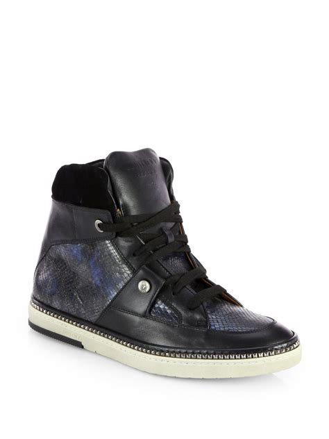 jimmy choo sneakers mens jimmy choo snakeembossed leather hightop sneakers in black
