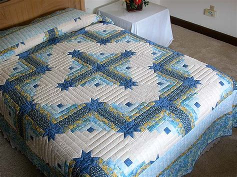 king size log cabin quilt pattern blue and yellow