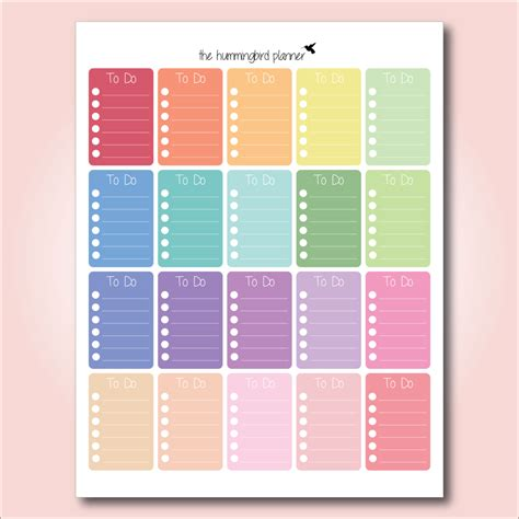 printable planner checklist stickers happy planner pastel full box to do checklists printable