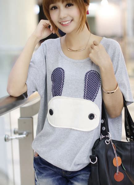 Korean Style Shirt korean style collar rabit printed t shirt on