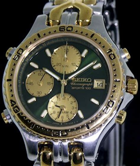 Seiko 7t32 seiko green alarm chronograph 7t32 6g20 pre owned mens