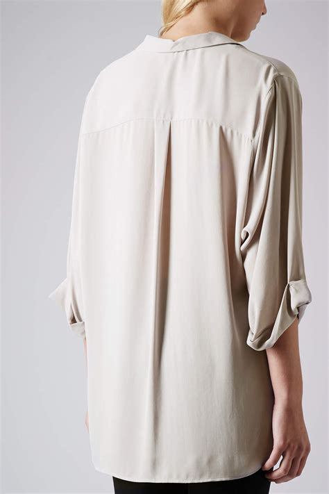 drape front blouse topshop formal drape front blouse in gray lyst