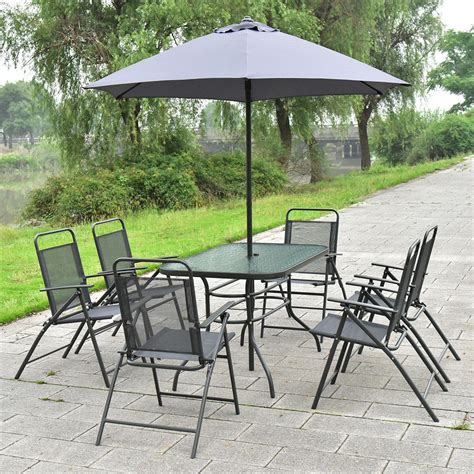 Patio Table Chairs Umbrella Set by 8 Pcs Patio Garden Set Furniture 6 Folding Chairs Table